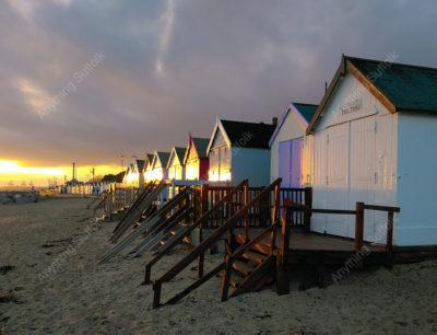 Beach Huts, Felixstowe by Hazel Calver