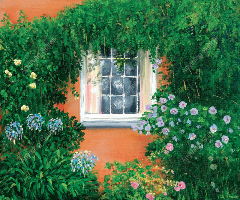 Flowers and window in Debenham by Sue Stroud