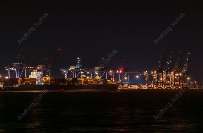 Fexlistowe Docks at night by Kevin Wailes