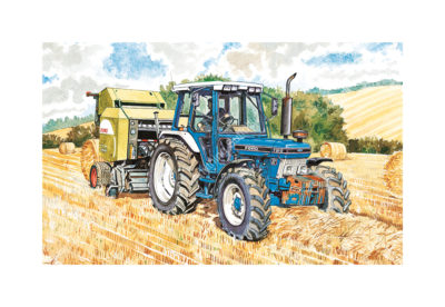 Ford 7810 with Round Baler by Steven Binks