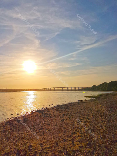 Sunset over the Orwell Bridge by Claire Foreman