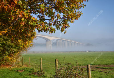Orwell bridge in the mist by Anne Gould