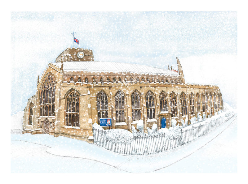 St Mary's Church in the snow, Bury St Edmunds by Kim Whittingham