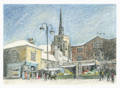 Stowmarket in Snow by Malcolm Buntrock