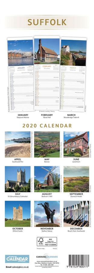 Carousel Slim Suffolk Calendar 2020 - back cover