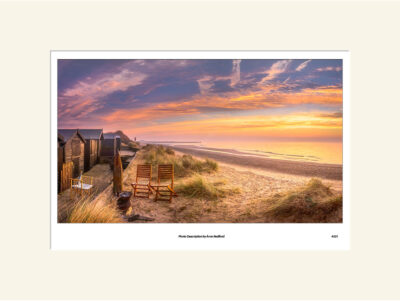 Walberswick Beach Huts Sunrise by Aron Radford