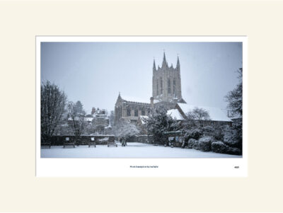 St Edmundsbury Cathedral in snow mono