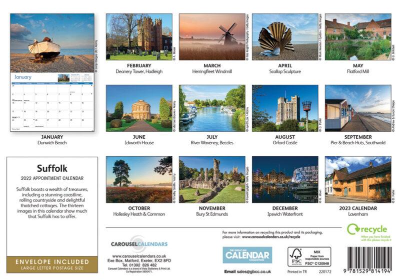 Suffolk A4 calendar 2022 reverse