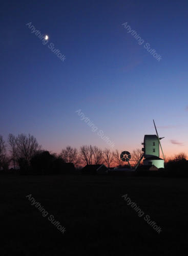 Saxstead Mill at dusk by Sue Stroud