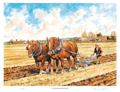 Suffolk Horses Ploughing by Steven Binks
